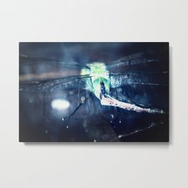 Luminous dragonfly macro, like a firefly at night Metal Print