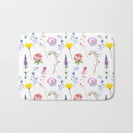 Hand painted watercolor lavender pink floral illustration Bath Mat