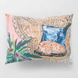 Ginger Cat in Peacock Chair with Indoor Jungle of House Plants Interior Painting Pillow Sham