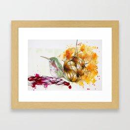 Orange Yarn Ball Hummingbird Framed Art Print