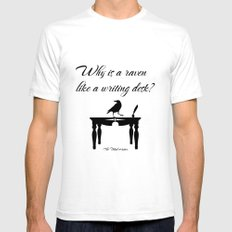 Alice In Wonderland Why Is A Raven Like A Writing Desk White SMALL Mens Fitted Tee