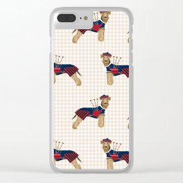 Airedale Terrier scottish kilt bagpipes funny custom dog portrait dog breeds by pet friendly Clear iPhone Case
