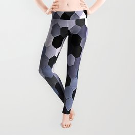 Honeycomb Pattern In Gray and Blue Wintry Colors Leggings