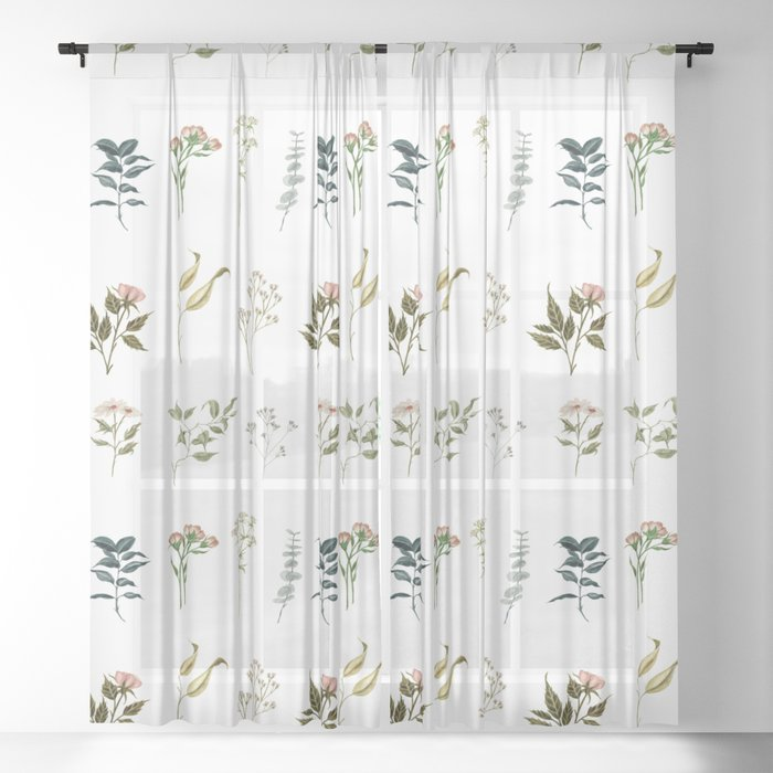 Delicate Floral Pieces Sheer Curtain