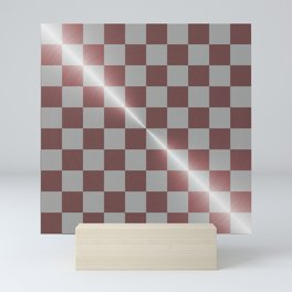 Rose gold and silver 8 by 8 chess board Mini Art Print