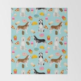 Husky siberian huskies junk food cute dog art sweet treat dogs pet portrait pattern Throw Blanket