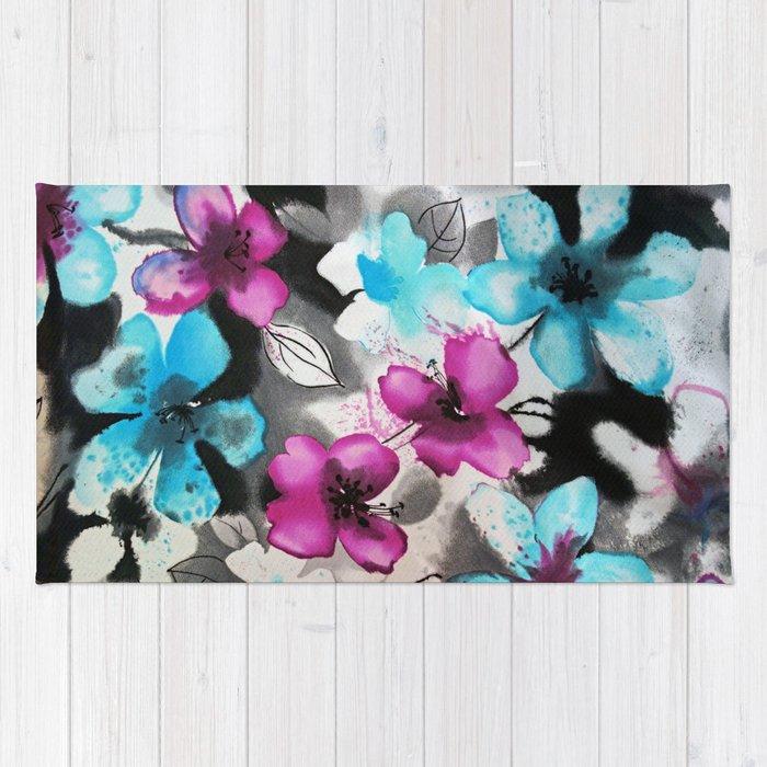 Watercolor flowers Rug