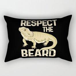 Respect The Beard - Funny Bearded Dragon Lizard Pet Illustration Rectangular Pillow