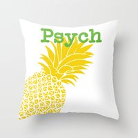 psych Throw Pillows featuring Minimalist Psych  by Canis Picta