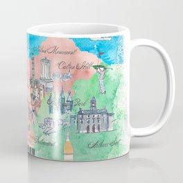 Edinburgh Scotland Illustrated Travel Poster Favorite Map Coffee Mug