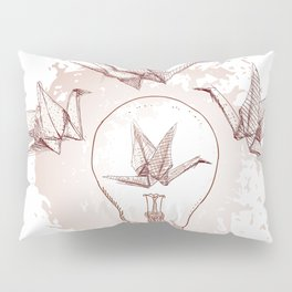 Origami paper cranes and light Pillow Sham