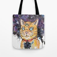 space cat Tote Bags featuring Space Cat by scoobtoobins