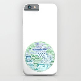 Earth shape with greenpeace concept words. iPhone Case