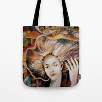 hat Tote Bags featuring hat by Eva Lesko