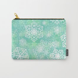 Snowflakes - green Carry-All Pouch