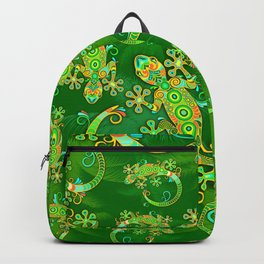 Gecko Lizard Colorful Tattoo Style Backpack