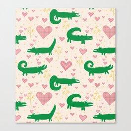 Mr. Crocodile loves you - Fabric pattern Canvas Print