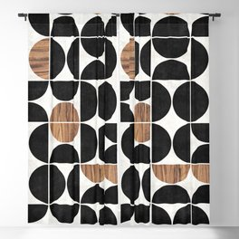 Mid-Century Modern Pattern No.1 - Concrete and Wood Blackout Curtain