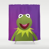 muppets Shower Curtains featuring Kermit - Muppets Collection by Bryan Vogel