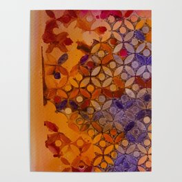 a piece of orange pink and purple Poster