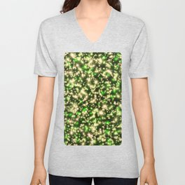 Gold and Green Holiday Lights Unisex V-Neck