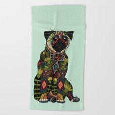 pug love mint Beach Towel