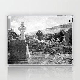 Halloween Graveyard   Horror   Black and White Cemetery   Gothic Graves   Laptop & iPad Skin