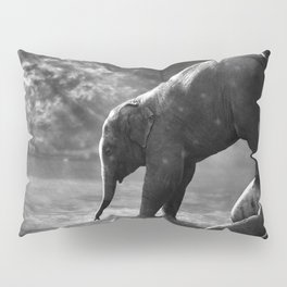 Baby elephant with mother Pillow Sham