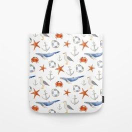 Watercolor nautical pattern Tote Bag