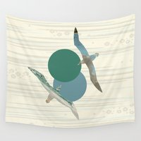 polka Wall Tapestries featuring Seagull Polka by Paula Belle Flores