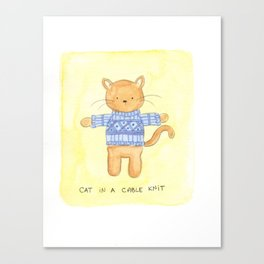 Cat in a Cable Knit Canvas Print