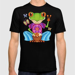 Peace Frog - Colorful Hippie Frog Art by Thaneeya McArdle T-shirt