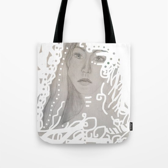 grey face made of pencil and lace Tote Bag