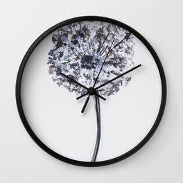 Dandelion illustration, black white watercolor, nature, botanical Wall Clock