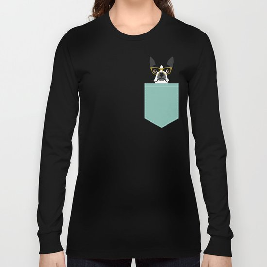 Darby - Boston Terrier pet design with hipster glasses in bold and modern colors for pet lovers Long Sleeve T-shirt