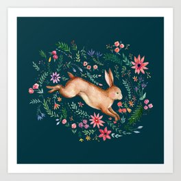 Rabbit in the woods Art Print