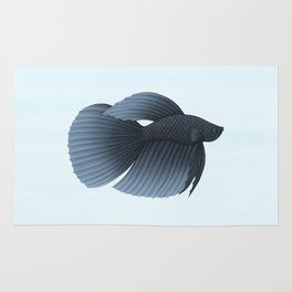 betta splendens black veiltail male Rug