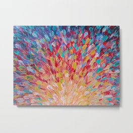 SPLASH - WOW Dash of Cheerful Color, Bold Water Waves Theme, Nature Lovers Modern Abstract Decor Metal Print