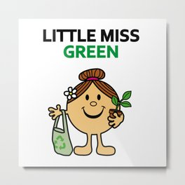 Little Miss Green Metal Print