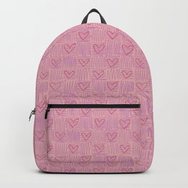 Pastel checkered pink heart pattern Backpack