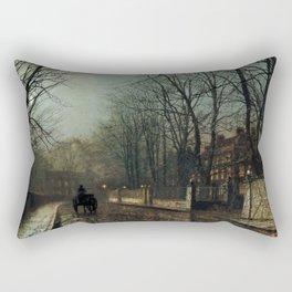 John Atkinson Grimshaw - A wet Moon, Putney Road - Victorian Retro Vintage Painting Rectangular Pillow