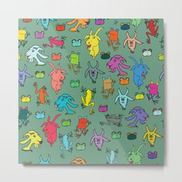 pattern with goats and frogs Metal Print