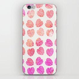 Cute pink coral watercolor leaves pattern iPhone Skin