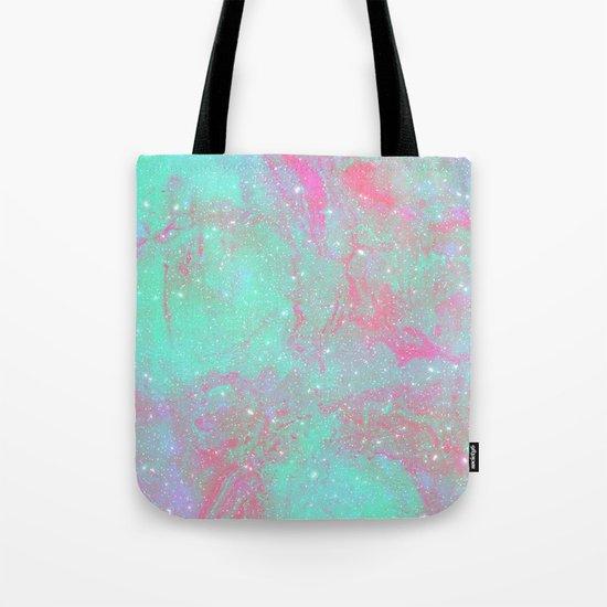 Teal Pink Marble Stars Tote Bag