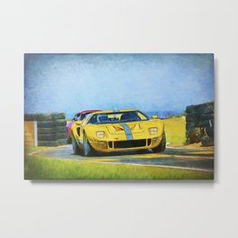 Yellow Ford GT40 Metal Print