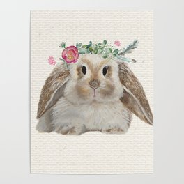Floral Crown Bunny on Burlap Poster