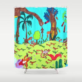 Dinosaur Battle_2 Shower Curtain