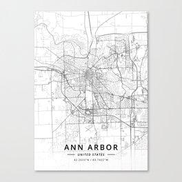 Ann Arbor, United States - Light Map Canvas Print