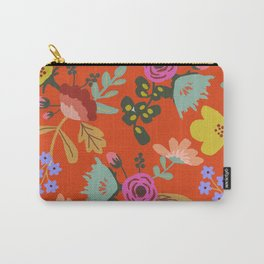 Funky Red Floral Carry-All Pouch