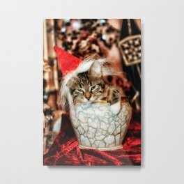 Christmas Kitten Metal Print